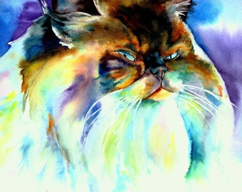 Custom Watercolor Pet Portrait Painting - Cat, Siamese, Tabby, Striped, Black, Tortoise Shell, Calico, Maine Coon, Sphynx, Long Haired