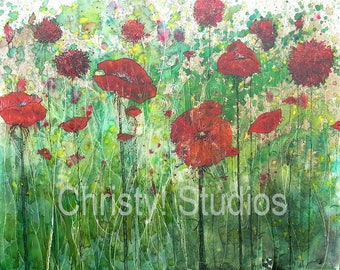 Poppy Flower Field - Fine Art Print - Red, Crimson, Tall Grass - Watercolor and coffee