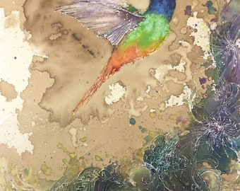 Rainbow Hummingbird - Fine Art Print - Coffee, Watercolor and Enamel, Bird Art