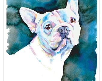 White French Bulldog Puppy - Fine Art Pet Portrait Watercolor Painting Print