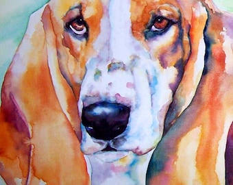 Basset Hound Puppy Dog Watercolor Print Pet Portrait