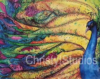 Large Rainbow Peacock Print on Canvas - Watercolor Fine Art