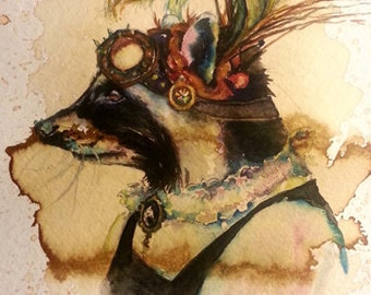 Fanny Raccoon -  Coffee and Watercolor Victorian Steam Punk Fine art print, feathers, goggles, fancy, critter, animal, peacock, plume
