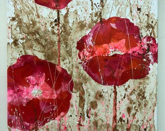Original Painting - Poppy Flowers with Coffee Grass. Bright pink, crimson shimmer art