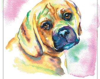 PUGGLE fine art pet portrait print watercolor painting beagle pug mix pink background sweetie pie