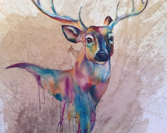 Custom Watercolor Mixed Media Painting - Deer, Doe, Stag, Buck, Fawn - Coffee, Paint, Woodland, White Tail, Rack, Antlers,