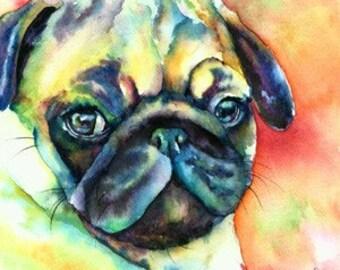 Glamour Pug fine art watercolor giclee print - pet portrait