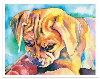 PUGGLE fine art pet portrait print watercolor painting beagle pug mix kong toy chew play
