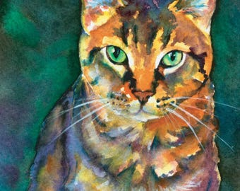 Tiger Striped Tabby Whiskers Kitty Cat Watercolor Print Pet Portrait
