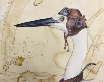 Crane Fighter Pilot -  Coffee and Watercolor Victorian Steam Punk Fine art print - goggles, airplane, WWII, plane