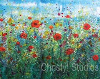 Bright Sky Poppy Flower Field - Fine Art Print - Red, Crimson, Tall Grass - Watercolor and coffee
