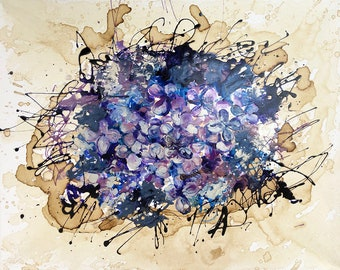 An Ode to the Lilac Original Coffee and Enamel Painting, Grandma's Lilac Bush or homage to the violet