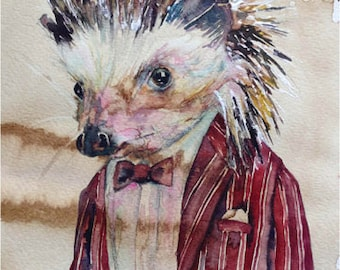 Hedgehog - Coffee and Watercolor Victorian Steam Punk Fine art print, pinstripe, bartender, quills, porcupine, needles, varmint