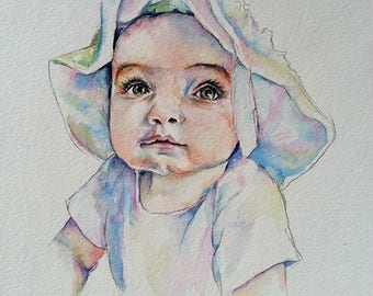 Custom Watercolor Portrait Painting - Baby, Kid, Child, Family, Boy, Girl, Heirloom