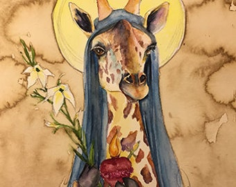 Virgin Mary Giraffe Holy Figure -  Coffee and Watercolor Victorian Steam Punk Fine art print