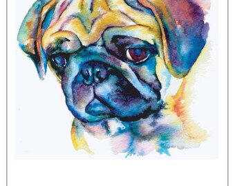 FAWN PUG DOG fine art pet portrait print watercolor painting in blue sad squished face