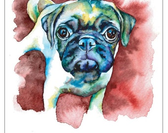 Fawn Pug Puppy with Red Background - Fine Art Pet Portrait Giclee Print