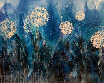 Original Painting - Dandelion Puff Flower Field - Blue, Thalo, Teal with Glow in the dark paint.