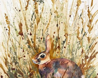 Rabbit in Weeds, Bunny, Coffee Art Painting, Watercolor and Glow in the Dark, Nature, Hunting