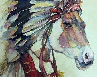 Old West Indian Horse -  Coffee and Watercolor Victorian Steam Punk Fine art print - Paint, Native American, Western, Mustang