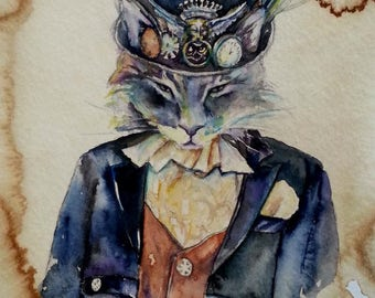 Stewart Cat Mans Man Inventor Dapper - Coffee and Watercolor Victorian Steam Punk Fine art print - Pet portrait, cat, derby, watch parts