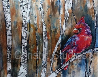Red Cardinal in Birch Tree Forest - Fine Art Print - Watercolor, Coffee, Oil