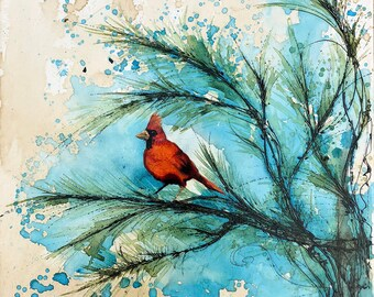 Cardinal in Fir Tree, Coffee and Watercolor Painting - Print only - bird, red, tree, outdoor, splash, evergreen