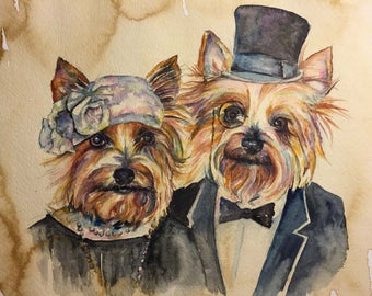 Terrier Couple - Coffee and Watercolor Victorian Steam Punk Fine art print - Pet Portrait, Top hat, flapper, Dog art, tuxedo