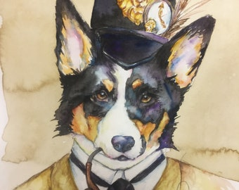 Corgi Dog Sherlock Holmes -  Coffee and Watercolor Victorian Steam Punk Fine art print, goggles, critter, animal, pilot, plane, bomber