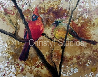 Red Cardinal Bird Couple, Male and Female, Fine Art Print - oil and coffee