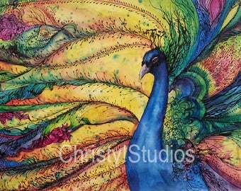 Rainbow Peacock - Fine Art Print - Watercolor and Acrylic Zen waves of color