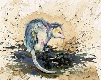 Opossum Love, Critter, Coffee Art, Watercolor Painting, Rat, Woods, Country, Grinner
