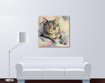 Tabby Cat Watercolor Fine Art Painting - Large Canvas - Buy Print or Order Custom of your pet