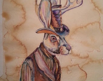 Jack-a-lope Sherriff -  Coffee and Watercolor Victorian Steam Punk Fine art print - Rabbit, Hare, Sheriff, Old West, Law, Leather, Gunsling