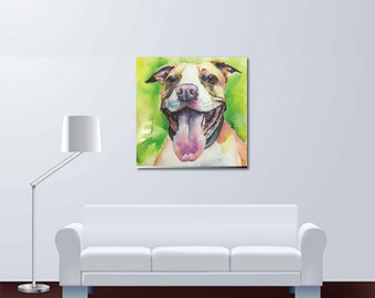 Pitbull Puppy Dog Fine Art Watercolor Painting - Large - Buy Print or Order Custom Portrait Pit, Rescue, Pitty, Bully, Bulldog