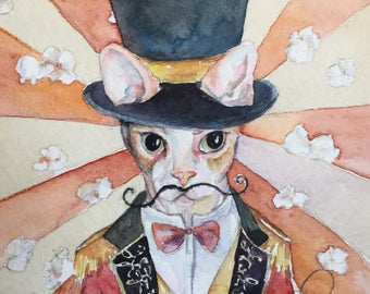 Sphynx Cat Carnival Ring Master - Coffee and Watercolor Victorian Steam Punk Fine art print - top hat, popcorn, Cat, Pet portrait