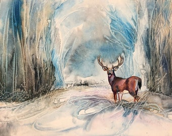 Original Painting - White Tailed Deer in Winter Scene, Stag, Watercolor of a forest