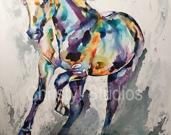 Andalusian Horse, Black - Fine Art Watercolor Print - Rainbow, Colorful, Drippy, Paint