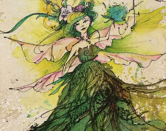 Green Fairy - Fine Art Print - Garden magic, dandelion puff, wings and feathers, roots and grounding