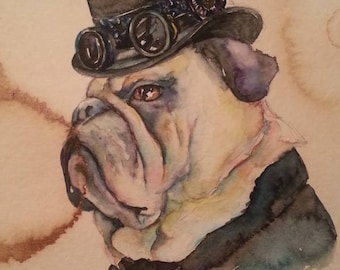 Bulldog Pug -  Coffee and Watercolor Victorian Steam Punk Fine art print, derby, mayor, western, dog, pet portrait