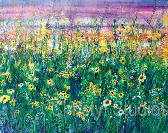 Yellow Daisy Flower Field - Fine Art Watercolor Print - sunset, sunrise, green, sunflower, garden
