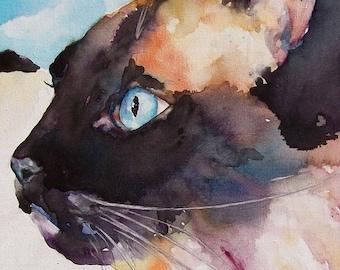 Seal Point Siamese Profile Kitty Cat Watercolor Print Pet Portrait