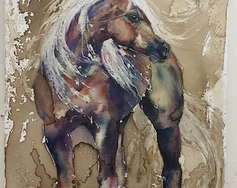 Flaxen - Horse Watercolor, Coffee and Pearl Enamel - Print only - Chestnut Mare with White Mane and tail
