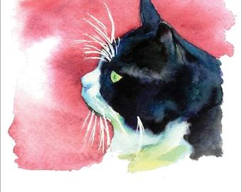 Tuxedo Black and White Kitty Cat Watercolor Print Pet Portrait