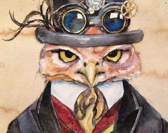 Mayor Owl - Coffee and Watercolor Victorian Steam Punk Fine art print - Bird, Goggles, inventor, clock parts, gears, top hat, feathers