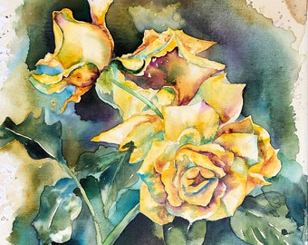 Yellow Rose Watercolor and Coffee Painting - print or original - 16 x 20 Flower, Garden