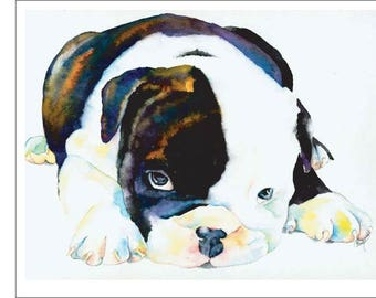 Bulldog, English, Staffordshire, Smashed Face, Brindle Puppy Dog Watercolor Print Pet Portrait