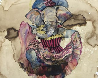 Elephant Can Can Dancer -  Coffee and Watercolor Victorian Steam Punk Fine art print