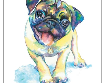 PUG fine art pet portrait print watercolor painting fawn pug Happy Yellow and Green