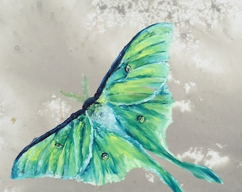 Luna Moth Fine Art Print - Oil and Red Wine on Canvas